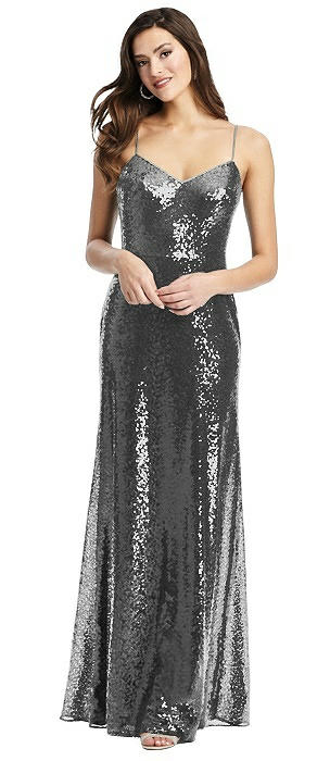 Spaghetti Strap Sequin Gown with Flared Skirt