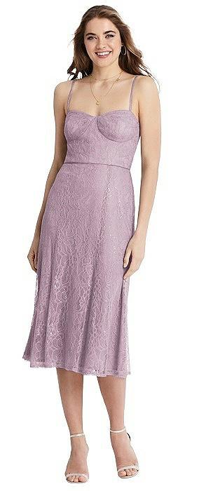 Lace Bustier Midi Dress with Spaghetti Straps