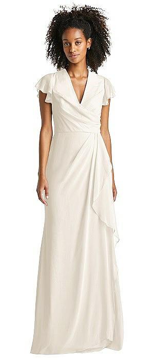 Flutter Sleeve Draped Wrap Maxi Dress