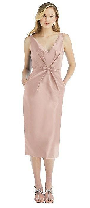 Sleeveless Bow-Waist Pleated Satin Pencil Dress with Pockets