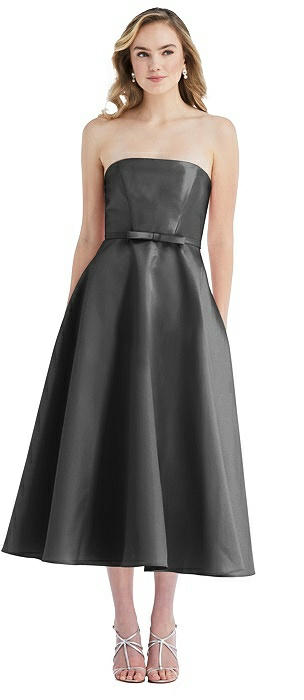 Strapless Bow-Waist Full Skirt Satin Midi Dress