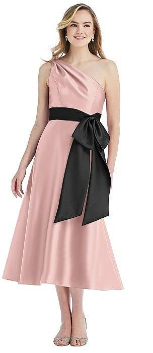 One-Shoulder Bow-Waist Midi Dress with Pockets