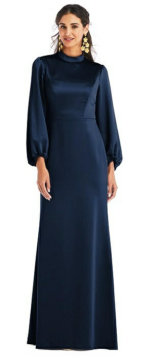 High Collar Puff Sleeve Trumpet Gown - Darby