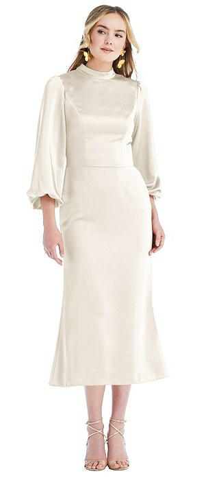 High Collar Puff Sleeve Midi Dress - Bronwyn