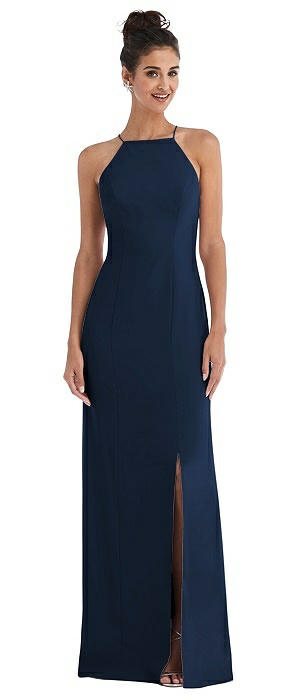 Open-Back High-Neck Halter Trumpet Gown