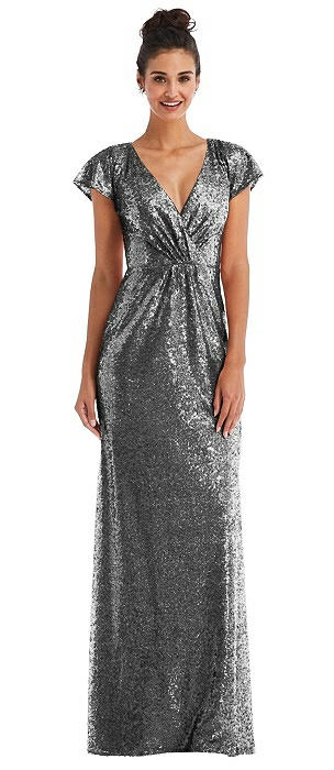 Cap Sleeve Wrap Bodice Sequin Maxi Dress