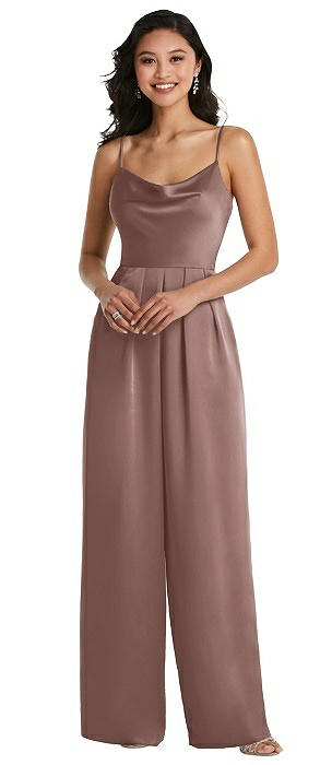 Cowl-Neck Spaghetti Strap Maxi Jumpsuit with Pockets