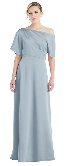 One-Shoulder Sleeved Blouson Trumpet Gown