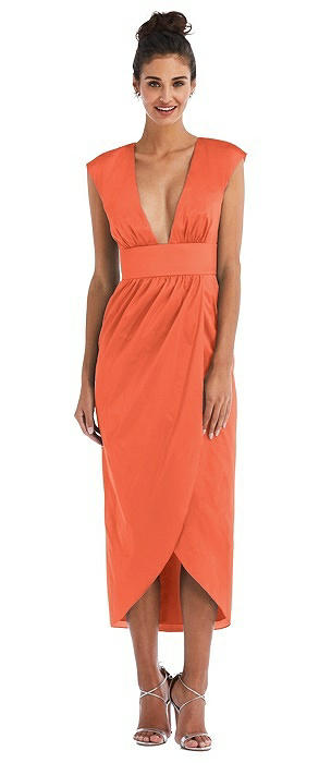 Open-Neck Tulip Skirt Maxi Dress