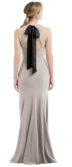 Cutout Open-Back Halter Maxi Dress with Scarf Tie