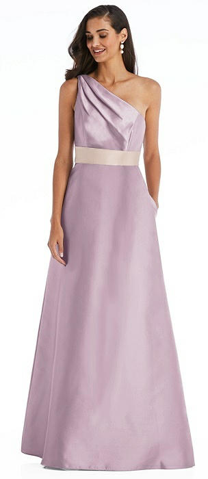 Draped One-Shoulder Satin Maxi Dress with Pockets