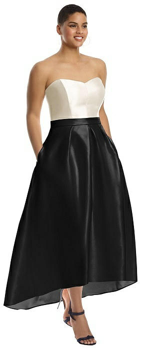 Strapless Satin High Low Dress with Pockets On Sale