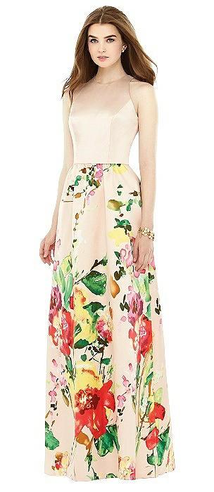Sleeveless Floral Skirt Maxi Dress with Pockets