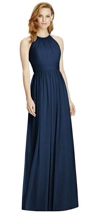Cutout Open-Back Shirred Halter Maxi Dress