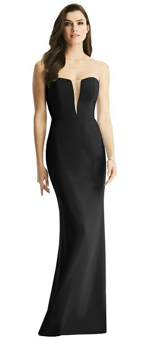 Sheer Plunge Neckline Strapless Column Dress