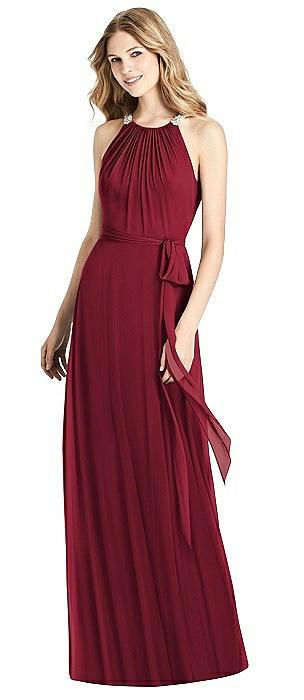 Beaded Shirred Halter Dress with Sash