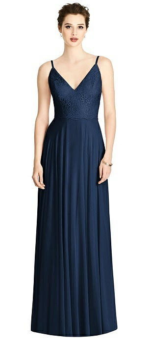Lace Bodice V-Back Full Skirt Chiffon Maxi Dress