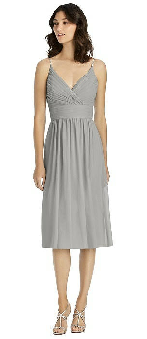 Jeweled Strap Draped Wrap Cocktail Dress