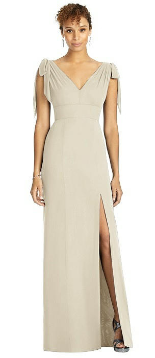 Bow-Shoulder Sleeveless Deep V-Back Mermaid Dress