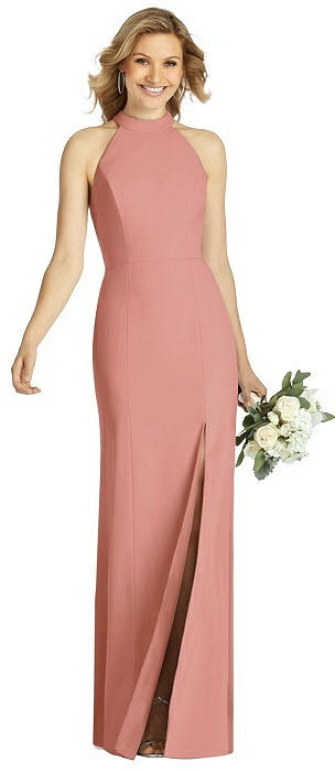 High-Neck Cutout Halter Trumpet Gown