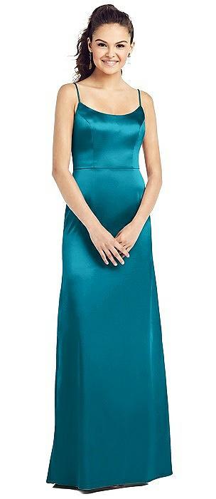 Slim Spaghetti Strap V-Back Trumpet Gown