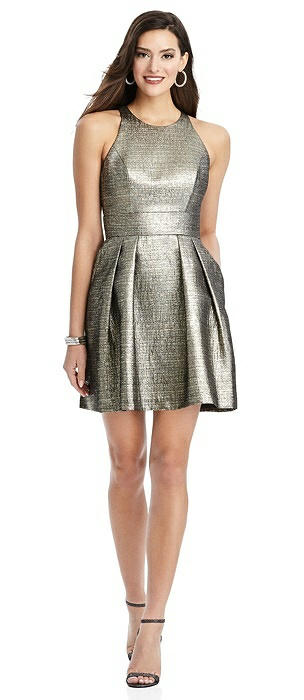 Metallic Halter Cocktail Dress with Pockets