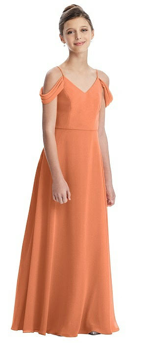 Draped Cold Shoulder Chiffon Juniors Dress
