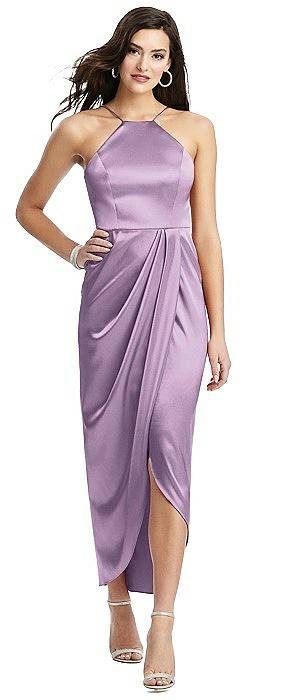 Halter Midi Dress with Draped Tulip Skirt