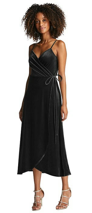 Velvet Midi Wrap Dress with Pockets