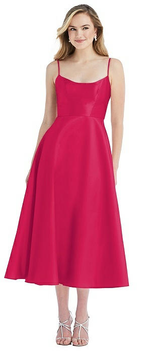 Spaghetti Strap Full Skirt Satin Midi Dress