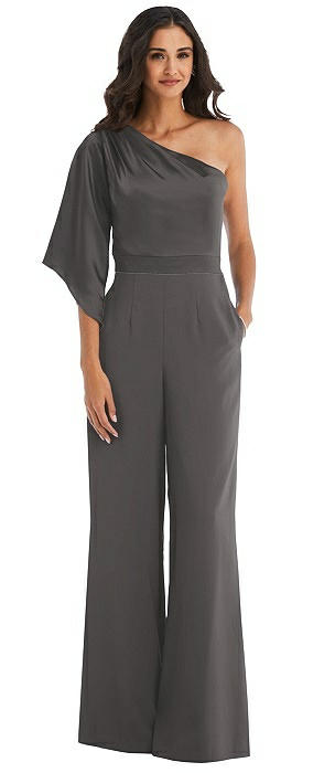 One-Shoulder Bell Sleeve Jumpsuit with Pockets