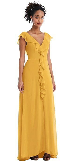 Ruffle-Trimmed V-Back Chiffon Maxi Dress