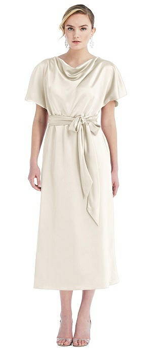 Cowl-Neck Kimono Sleeve Midi Dress with Bowed Sash
