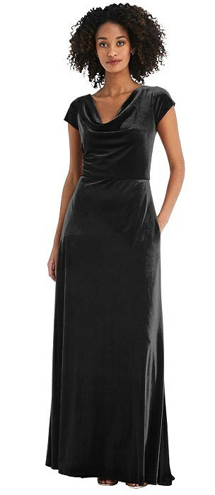 Cowl-Neck Cap Sleeve Velvet Maxi Dress with Pockets