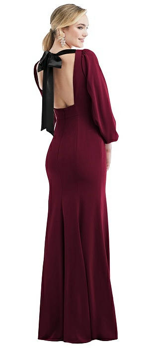 Bishop Sleeve Open-Back Trumpet Gown with Scarf Tie