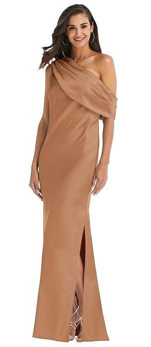 Draped One-Shoulder Convertible Maxi Slip Dress