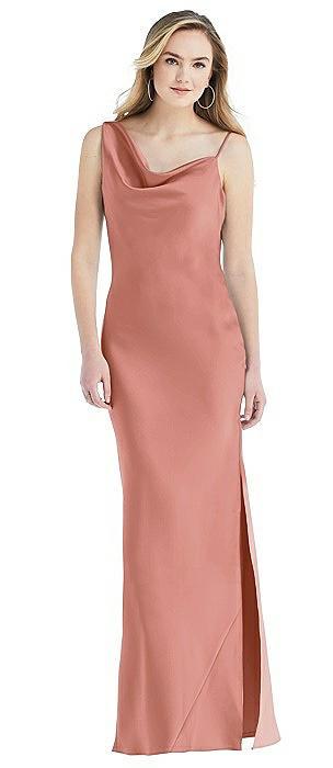 Asymmetrical One-Shoulder Cowl Maxi Slip Dress