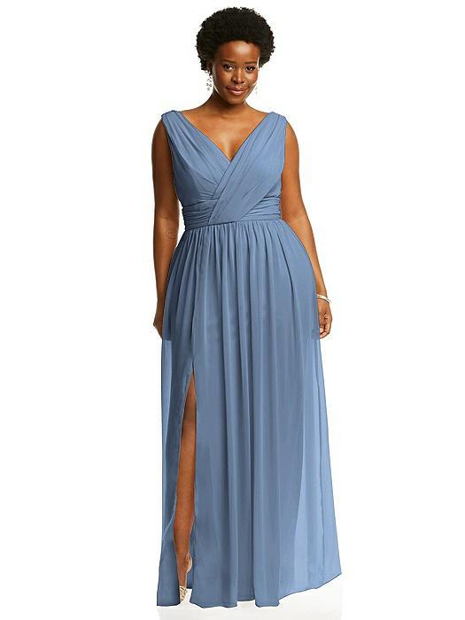 Sleeveless Draped Chiffon Maxi Dress with Front Slit On Sale