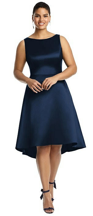 Bateau Neck Satin High Low Cocktail Dress On Sale