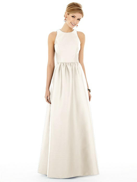 Sleeveless Keyhole Back Satin Maxi Dress On Sale