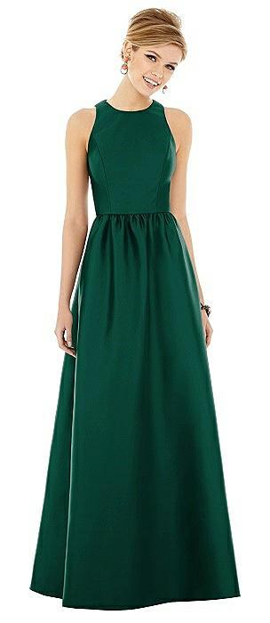 Sleeveless Keyhole Back Satin Maxi Dress
