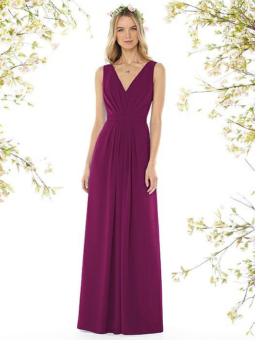Sleeveless V-Pleat Sheer Crepe Dress On Sale