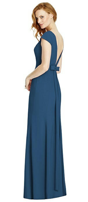 Bateau-Neck Cap Sleeve Open-Back Trumpet Gown