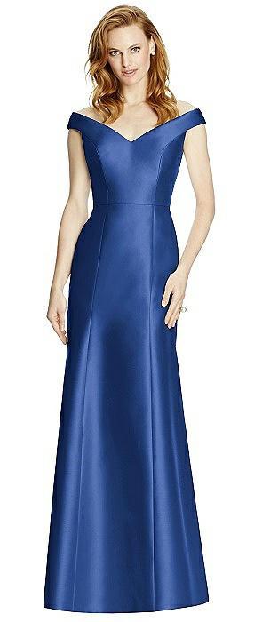 Off-the-Shoulder V-Neck Satin Trumpet Gown