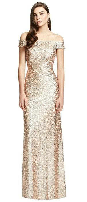 Off-the-Shoulder Open-Back Sequin Trumpet Gown