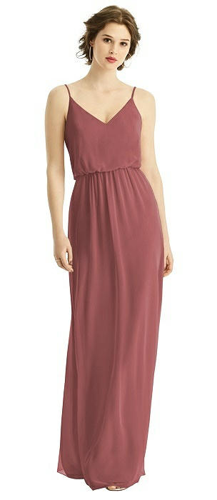 V-Neck Blouson Bodice Chiffon Maxi Dress