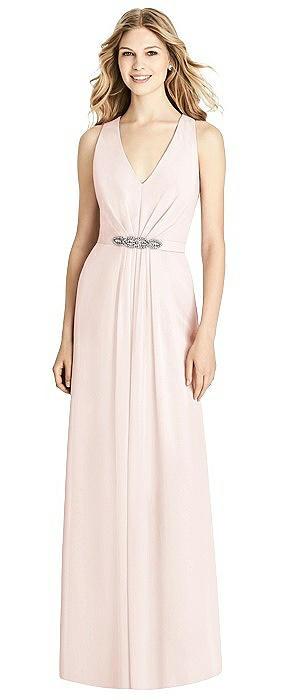 Sleeveless Jeweled Belt Twist Strap Dress