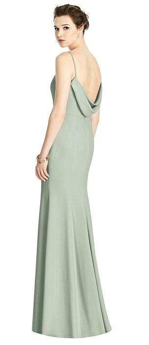 Bateau-Neck Open Cowl-Back Trumpet Gown