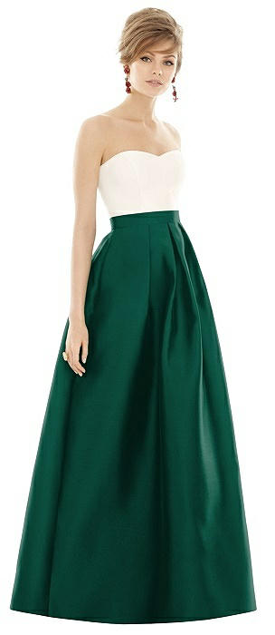 Strapless Pleated Skirt Maxi Dress with Pockets