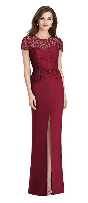 Short Sleeve Open-Back Lace Peplum Maxi Dress